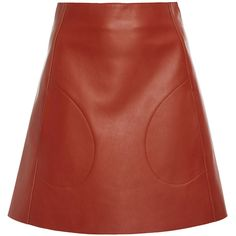 Khaite Stephania Leather Mini Skirt ($1,200) ❤ liked on Polyvore featuring skirts, mini skirts, brown, brown skirt, red leather mini skirt, brown leather mini skirt, red a line skirt and a line skirt