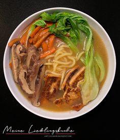 Vegan Ramen, Thai Red Curry, Food And Drink, Veggies, Menu, Asian, Pak Choi, Cooking, Ethnic Recipes