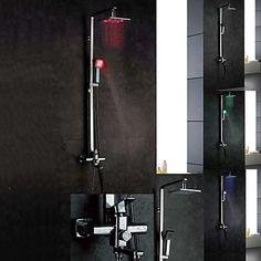 Chrome mural LED Color Changing contemporaines Robinets de douche en laiton