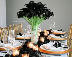 Black Calla lily wedding reception vases, perfect for DIY centerpieces for tables Calla Lily Wedding Flowers, Calla Lilies, Flower Decorations, Wedding Decorations, Table Decorations, Diy Wedding, Wedding Reception, Black Calla Lily, Diy Centerpieces