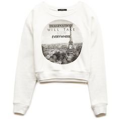 Forever 21 Women's  Imagination Cropped Sweatshirt ($12) ❤ liked on Polyvore…
