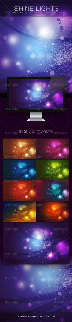 """Shine Lights Abstract Backgrounds  #GraphicRiver            Shine lights abstract backgrounds         Dimensions:   4000 × 2500 PIX (300 -DPI – RGB format)      Info:   9 Different colors   all colors are included in the layered and well organized PSD file   choose colors easily from the layer comps   very easy to change colors """"Gradient layer styles """" or """" Color Fill layer styles """"   Easy to customize for completely different result if required      The.zip file includes:    1PSD file   9…"""
