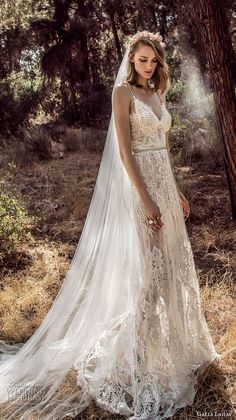 galia lahav gala 4 2018 bridal sleeveless spaghetti strap sweetheart neckline full embellishment romantic soft a  line wedding dress open back sweep train (911) mv -- Gala by Galia Lahav 2018 Wedding Dresses