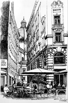 Чугаева-Попова Ольга. Уличное кафе в Вене City Drawing, Wall Drawing, Painting & Drawing, Pen Sketch, Art Sketches, Tinta China, Urban Sketching, Illustration Art, Illustrations