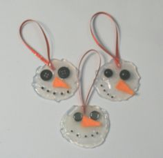 DIY Tutorial - Melted Glue Snowman Ornaments