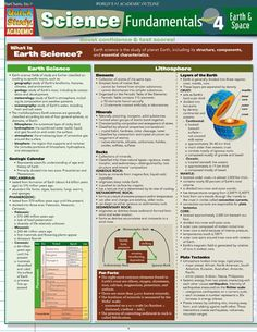 Science Fundamentals 4 Earth & Space (Quickstudy: Academic): Covers the basics of earth science and space science. Concise, easy-to-understand explanations are reinforced by colorful illustrations/diagrams and straightforward tables. Earth Science Experiments, Earth Science Projects, Earth Science Activities, Earth Science Lessons, Science Notes, Earth And Space Science, Science Curriculum, Earth From Space, Life Science