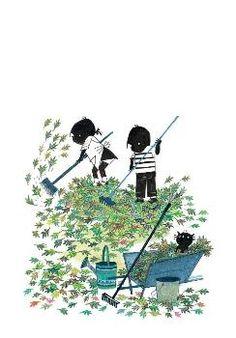 Fiep Westendorp -  Jip en Janneke harken de tuin -  FWC034 -  Postkaart / Postcard