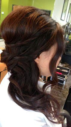 Wedding updo, wedding hair, bridal hair, curls, side ponytail, asian bridal hair