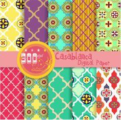 Moroccan digital paper 'Casablanca' quatrefoil, moroccan patterns by GemmedSnail, $4.00