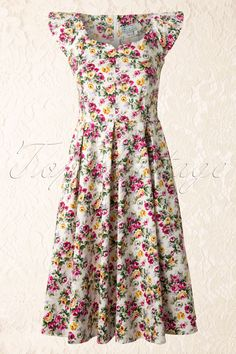 Whispering Ivy - TopVintage exclusive ~ 50s White Floral Ladies Dress