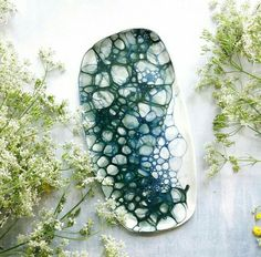 Porcelain platter bubble glaze by Meadow Ceramics
