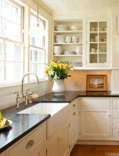countertops, mis of open and glassed in shelving