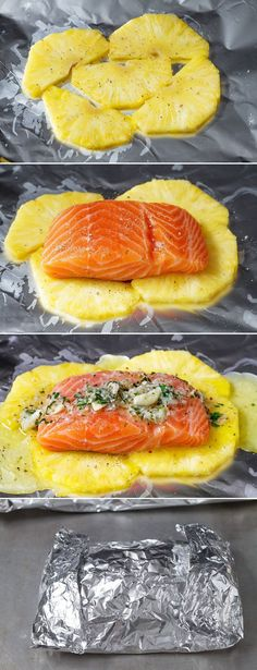 This honey lemon garlic butter salmon is a breeze to make and the method of cooking it all together in a foil pouch seals in moisture and keeps the sweet aroma intact. A no-fuss weeknight dinner wi… food Lemon Garlic Butter Salmon in Foil with Pineapple Fish Dishes, Seafood Dishes, Seafood Recipes, Cooking Recipes, Healthy Recipes, Salmon Dishes, Cooking Corn, Cooking Salmon, Seafood Meals
