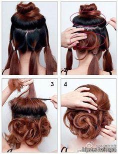 tutorial bun updo hair