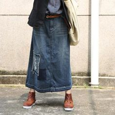 Buy Korean Fashion Patchwork Denim Skirt Ripped A-Line Maxi Skirt in Skirts online shop, Morimiss offers Skirts to make you feel comfortable Trendy Jeans, Trendy Outfits, Jean Skirt Outfits, Jean Dresses, Maxi Dresses, Blue Jean Dress, Loose Fit Jeans, Trendy Plus Size Clothing, Denim Patchwork