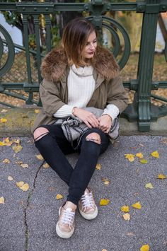 One Trend – Different Styles: Metallic #metalloc #style #look #idea #styling #trend #gold #silver #howto #streestyle #amigaprincess #nature #autumn #fall #herbst #outfit #tipps #parka