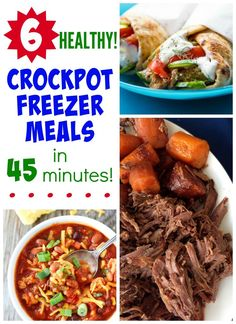 6 Healthy Crockpot Freezer Meals: easy dinner recipes that the whole family loves! Just dump in the slow cooker and go!