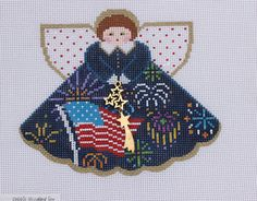 Painted Pony Designs Fireworks Angel 996GR Hand Painted Needlepoint Canvas 18 ct #PaintedPonyDesigns