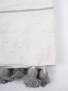 ❤️PALE BEIGE FRINGE COTTON THROW HERRINGBONE DESIGN 125 x 150cm SMALL FAIR TRADE