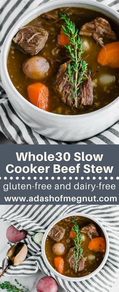 This Whole30 slow cooker beef stew is made right in your crock pot and could not be easier! Made for chilly days and busy weeks, this gluten-free stew does not get easier or more delicious than this!Drop everything in your crock pot, set it and forget it, and have a flavorful meal on the table for your family. The beef is so incredibly tender, you won't want to try another beef stew recipe again! via @adashofmegnut