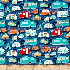 Riley Blake Road Trip Trailers Blue Fabric By The Yard Retro Fabric, Blue Fabric, Camping Fabric, Pillow Fabric, Wall Fabric, Felt Ornaments Patterns, Felt Decorations, Riley Blake, Scrapbook Sketches