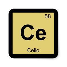 Ce - Cello Music Chemistry Periodic Table Symbol Square Sticker