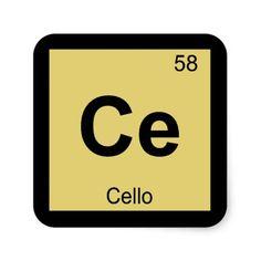 Ce - Cello Music Chemistry Periodic Table Symbol Square Sticker
