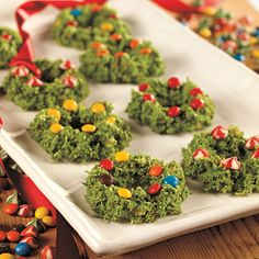 Would be cute to make green rice crispy treat wreaths with red icing bows and candy ornaments.