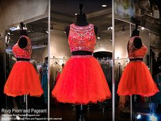 This stunning red two piece short homecoming dress is out of this world with its completely beaded high neckline and open back and it's at Rsvp Prom and Pageant, your Atlanta Prom Store!