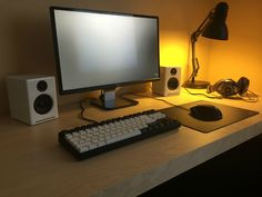 B & W battlestation by Not_a_Lefty : screen Dell 2340m, keyboard : Quickfire Stealth with brown switches, speakers : Audioengine A2