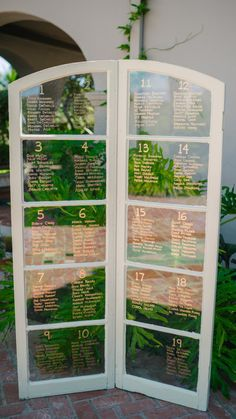 vintage trifold window pane seating chart wedding party event