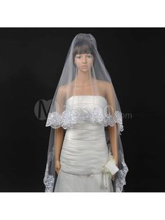 Buy Cheap Embroidery Decorated Tulle Bridal Veil in White with Scalloped Edge MS46LL984