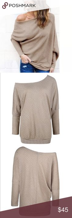NEW OFF SHOULDER KNIT SWEATER 🖤 Brand new - 95% polyester 5% spandex - see size chart, order a size up for a more comfortable fit. Available in tan, white & red. Sweaters