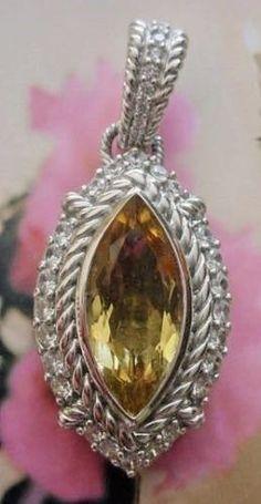 Judith Ripka Sterling Champagne Quartz Pendant Enhancer Retired Beautiful  #JudithRipka #Marquise