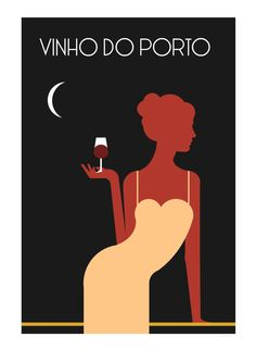 """Vinho do Porto"" - Port wine is a portuguese fortified wine produced exclusively in the Douro Valley in the northern provinces of Portugal Vintage Wine, Vintage Cards, Illustration Sketches, Illustrations, Wein Poster, Bar Deco, Portuguese Culture, Graphisches Design, Retro Poster"