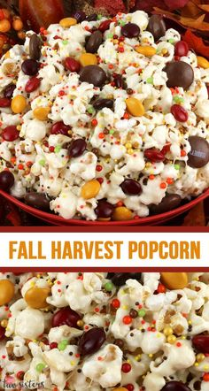 Fall Harvest Popcorn Fall Harvest Popcorn,SNACKS Fall Harvest Popcorn – sweet and salty popcorn, covered with marshmallows and beautiful Harvest Blend M&M's just for fun! A great popcorn treat that is so easy to. Snack Mix Recipes, Fall Recipes, Holiday Recipes, Christmas Recipes, Snack Mixes, Christmas Snacks, Köstliche Desserts, Delicious Desserts, Dessert Recipes