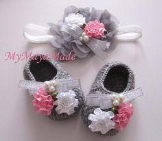 Silver Ribbon Beaded Flowery Gray Wool Crochet Baby by mymayamade, $24.99