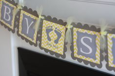 """Yellow Grey Chevron - """"Baby Shower"""" """"Its a Boy"""" or """"It's a Girl"""" Tiny Toes Little Feet Baby Shower Banner - Ask About Party Pack Specials"""