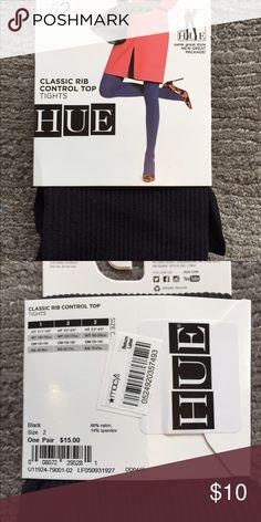 "NEW with tags classic rib control top HUE TIGHTS NEW with tags classic rib CONTROL TOP TIGHTS BY HUE BLACK SIZE 2 5'5""-6' 120lbs-170lbs HUE Accessories Hosiery & Socks"