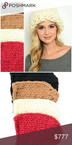 OVERSIZED KNIT BEANIE! Brand new Boutique item Listing is for 1 beanie  Oversized knitted beanie. So perfect for the season!!! This is perfect for a gift to yourself or someone you love. Chic and warm!  *Available in burgundy,cream, black or tan. *Select color you would like before checkout.  *If you would like more than 1,I would be happy to create you a custom bundle. Just let me know which colors you would like.      # Gift present warm knit knitted crochet beanie hat cream burgundy tan…
