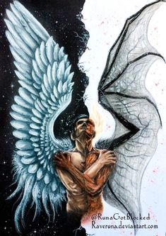 😈 Je suis un lucifan. Off Lucifer Netflix . Satan Drawing, Wings Drawing, Angel Drawing, Fantasy Kunst, Dark Fantasy Art, Dark Art, Ange Demon, Demon Art, Lucifer Wings