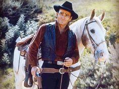 """James Drury in his starring role on NBC's """"The Virginian,"""" which ran from… Cowboy Films, Doug Mcclure, Clint Walker, James Drury, Actor James, The Virginian, Tv Westerns, Old Shows, Famous Men"""