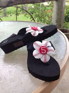 Baseball flip flops by ChampagneDesigns4you on Etsy, $25.00