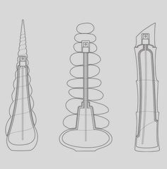 design sketches for the 3 different bottles of Zen perfume