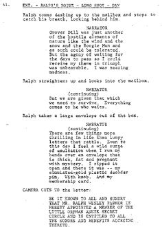 What's in a Name - A Christmas Story House - As seen in the below excerpts from the script for A Christmas Story Ralphie's middle name is Wesley and The Old Man's first name is Frank.  Neither name gets mentioned in the movie.