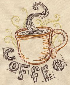 Embroidery Designs at Urban Threads - Coffee Jitters