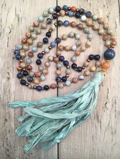 African Opal and Sodalite Mala Necklace/Sari Silk by BeSoHum