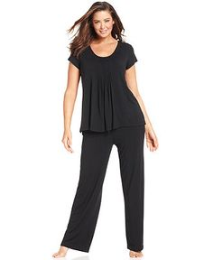 22928142a788b DKNY Plus Size Pajamas, Seven Easy Pieces Top and Long Pajama Pants -  Lingerie -