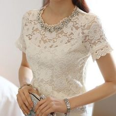 Bead Embellished Short Sleeve Lace Blouse White