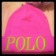 """POLO by Ralph Lauren BEANIE Fold-over brim. Seamed crown. """"Polo""""-embroidered brim. 16"""" inner circumference. 33% viscose, 23% nylon, 18% cotton, 18% lambswool, 4% rabbit hair, 4% cashmere. Dry clean. Polo by Ralph Lauren Accessories Hats"""